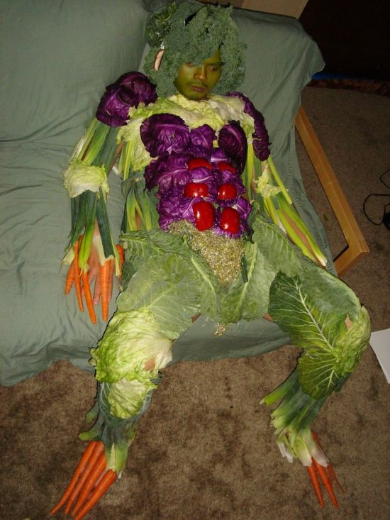 Eating vegetables is good for you. Wearing them, not so much.